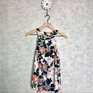 Loft floral high neck sleeveless swing top